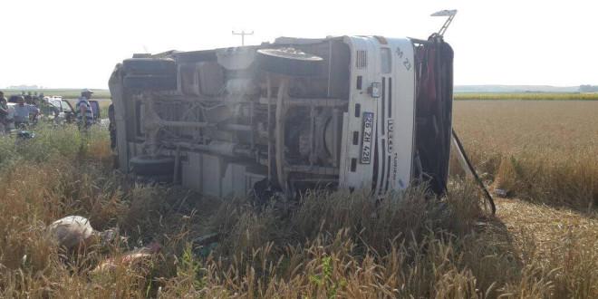 Tarım işçilerini taşıyan midibüs devrildi: 3 ölü 30 yaralı