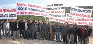 Germiyan köyü taş ocağı için gelenleri kovdu
