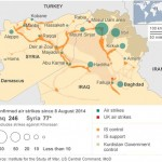 Aşağıda, BBC'nin 8 Ağustos tarihinden beri ABD'nin Irak ve Suriye'de bombaladığı yerleri gösteren haritası yer alıyor. Musul ve Haditha Barajları etrafında yapılan bombalamaların sayısının fazlalığı Sincar Dağı'nda kısılı kalan Ezidileri korumak için yapılan bombalamalar ve son 23 gündür Kobane'de yaşananlar göz önünde bulundurulduğunda dikkat çekici.